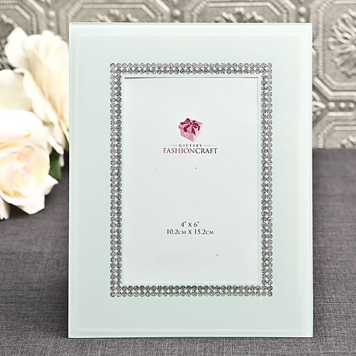 White Glass Frame With Silverwholesale/12054lg.jpg Wedding Supplies