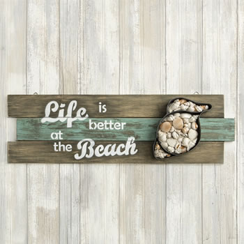 Shell Wall Sign - Life Is Better At The Beach Giftwholesale/12240.jpg Wedding Supplies