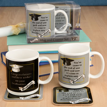 Grad Mug & Coaster Set - 2 Assorted Styles Giftwholesale/12648.jpg Wedding Supplies