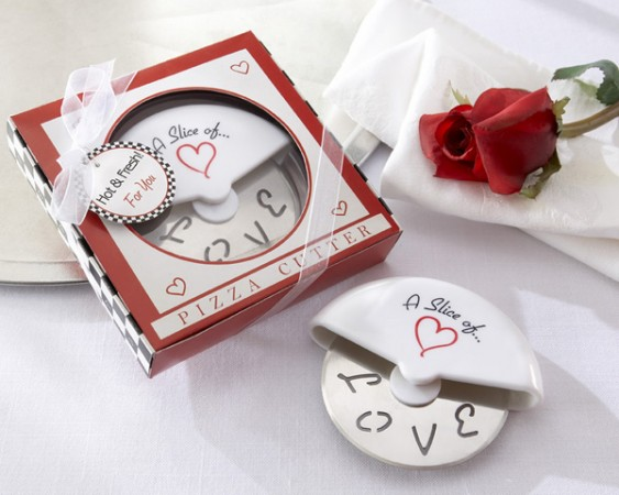 A Slice of Love  Stainless-Steel Pizza Cutter in Miniature Pizza Box  Weddings