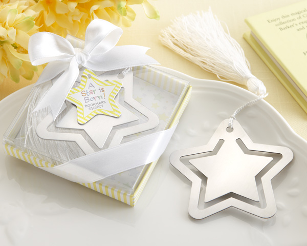 A Star is Born! Metal Bookmark with White-Silk Tassel baby shower favors
