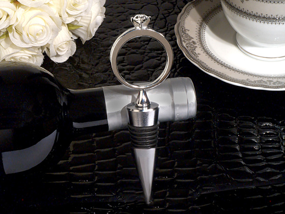 Bling A Diamond Ring Silver Wine Stopper200  Weddings