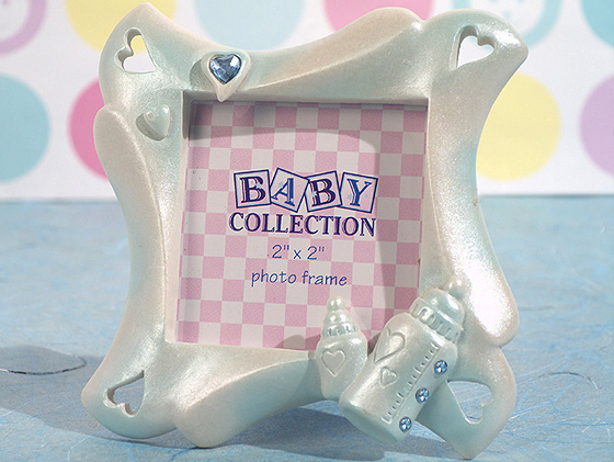 CLEARANCE Cute Baby Bottle Frame Favor Blue baby shower favors