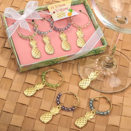 TROPICAL GOLD PINEAPPLE WINE CHARMS  Weddings