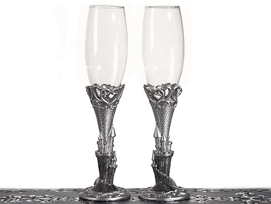 Platinum Castle Collection Toasting Glasses  Weddings
