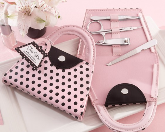 Pink Polka Purse Manicure Set200  Weddings