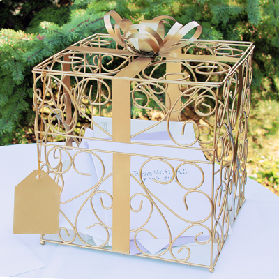 Gold Reception Gift Card Holder200  Weddings