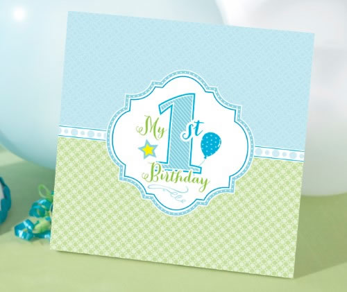1st Birthday Memory Book-Blue baby shower favors
