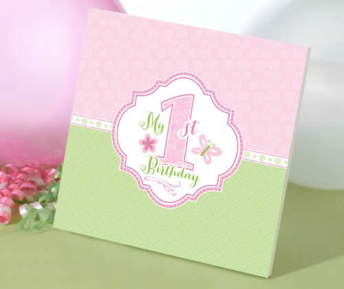 1st Birthday Memory Book-Pink baby shower favors