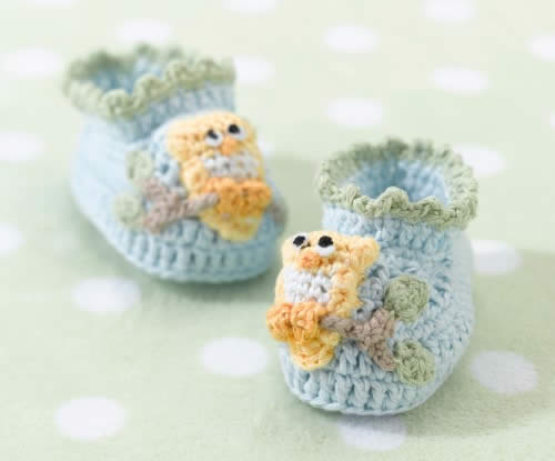 Blue Owl Booties 0-6 Months baby shower favors