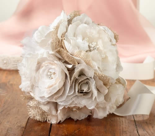 Burlap and Flower Bouquet  Weddings