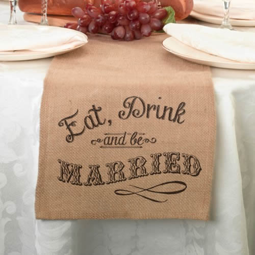 Eat, Drink and Be Married Burlap Vintage Table Runner  Weddings