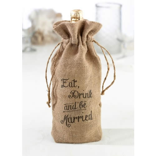 CLEARANCE Eat, Drink and Be Married Burlap Wine Bagwholesale/2014-wedding-favors_LR/WB560E.jpg Wedding Supplies