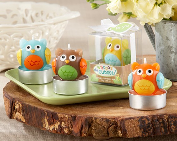 CLEARANCE Baby Owl Candle (Set of 4 Assorted) baby shower favors