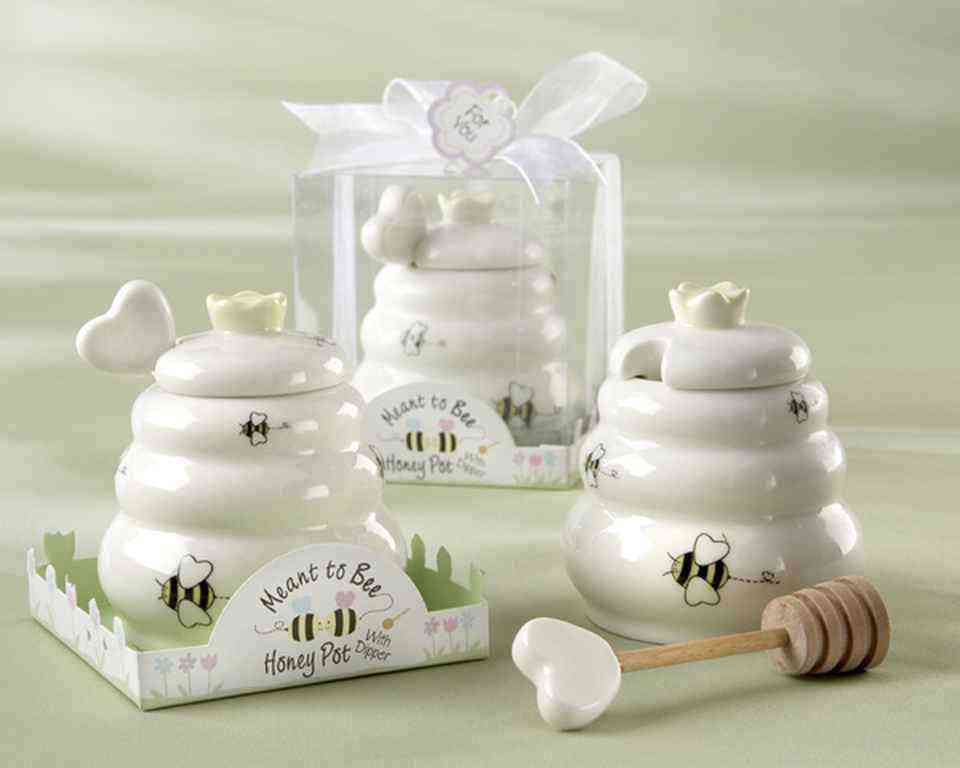 Meant to Bee Ceramic Honey Pot with Wooden Dipperwholesale/23015.jpg Wedding Supplies