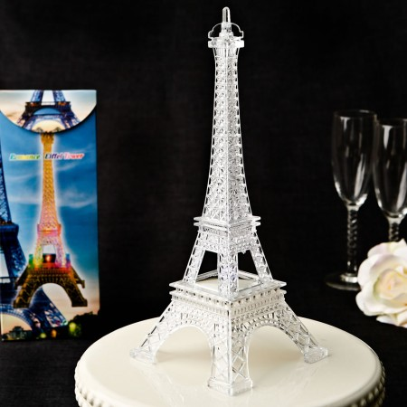 Eiffel tower centerpiece in clear acrylic plastic with colorful LED lights200  Weddings