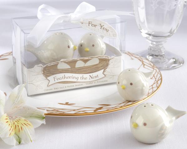 Feathering the Nest Ceramic Birds Salt & Pepper Shakers baby shower favors