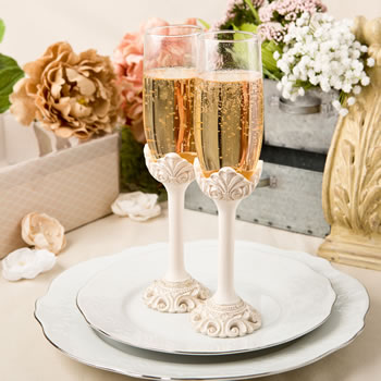 Vintage Design Antique Ivory Champagne Toasting Glasseswholesale/2463.jpg Wedding Supplies