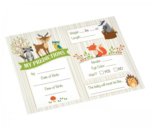 Woodland Baby Shower Prediction Cards baby shower favors