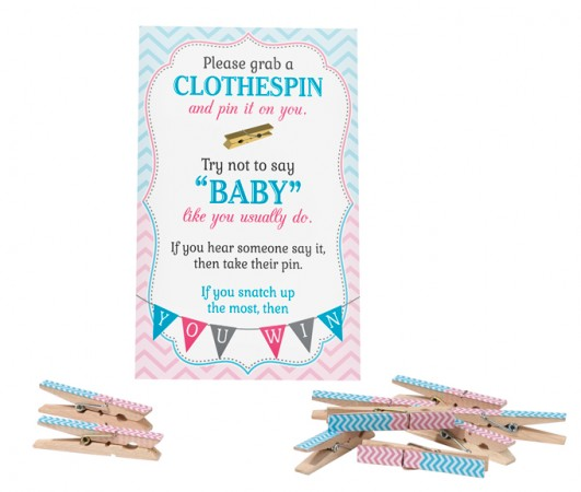 Gender Reveal Clothespin Game baby shower favors