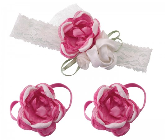 Baby Headband & Barefoot Sandals - Hot Pink baby shower favors