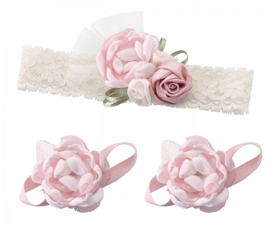 Headband & Barefoot Sandals - Pink baby shower favors