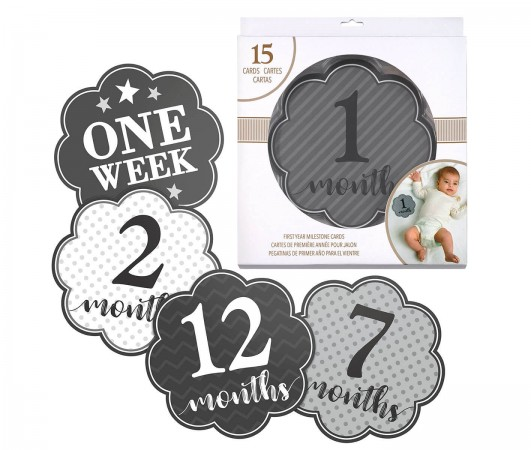 Grey Milestone Card Set (1-15 months) baby shower favors