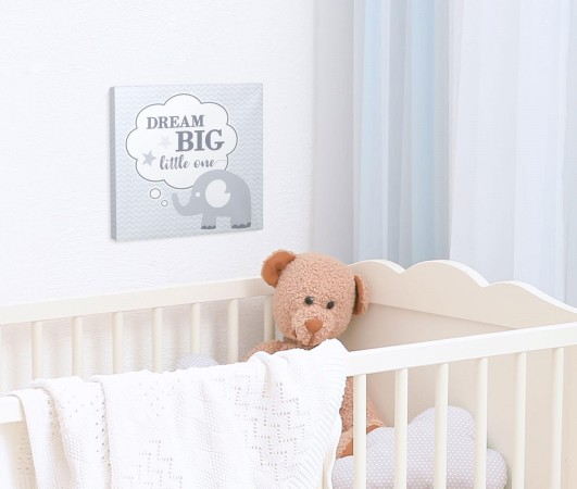 """Dream Big"" Elephant Nursery Canvas baby shower favors"