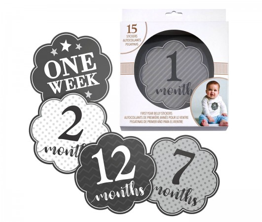 Black and Grey Baby Belly Stickers (Set of 1-15) baby shower favors