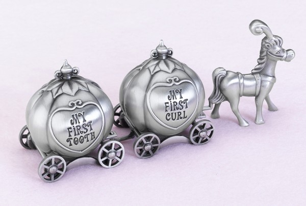 New Fairy Tale Coach Pewter Tooth and Curl Boxes baby shower favors