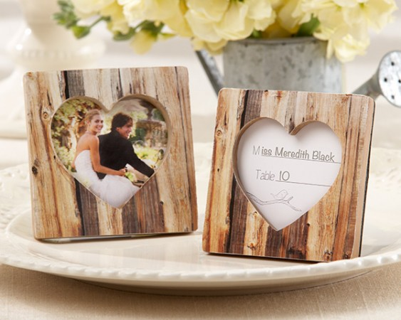 Faux-Wood Heart Place Card Holder  Weddings