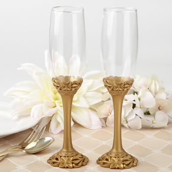 Gold Lattice Botanical Collection Flute Setwholesale/2527.jpg Wedding Supplies