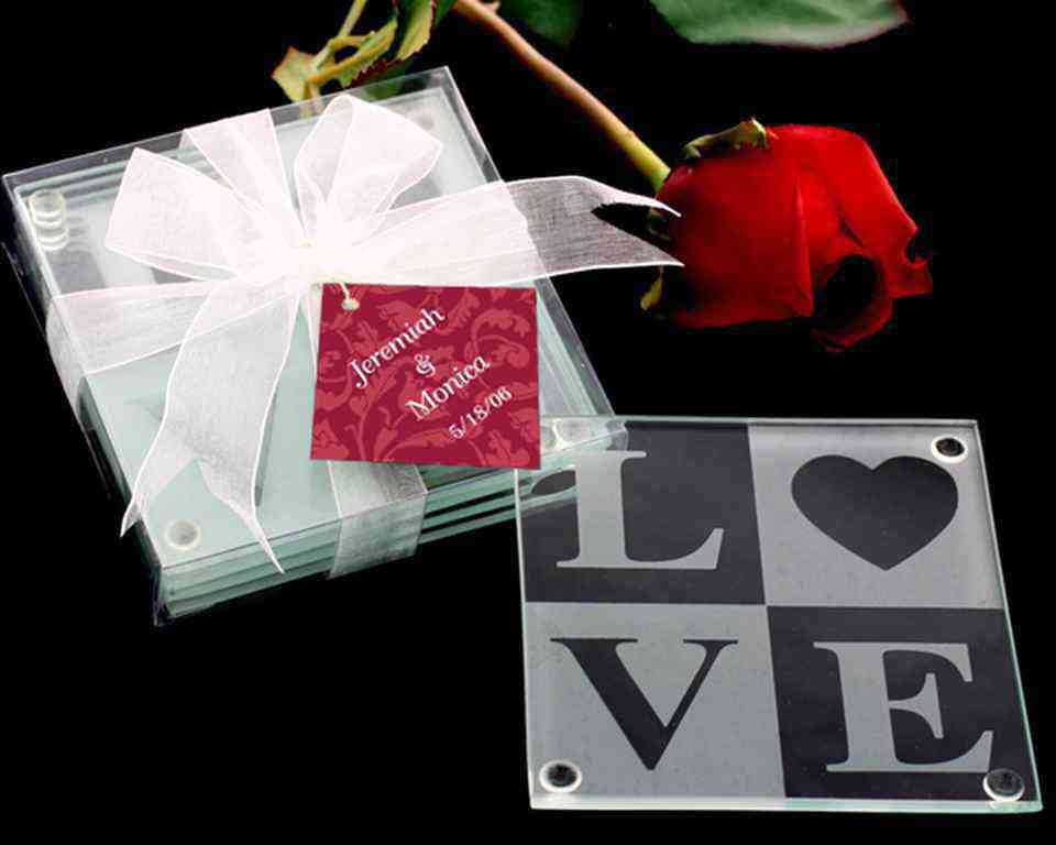 LOVE Glass Coaster Gift Set with Ribbon and Thank You Tagwholesale/27005.jpg Wedding Supplies
