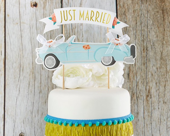 CLEARANCE Just Married Sign over Vintage Car Cake Topperwholesale/28321NA-just-married-vintage-car-cake-topper-ka-l.jpg Wedding Supplies
