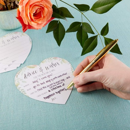 FLORAL WEDDING ADVICE CARD - HEART SHAPE (SET OF 50)wholesale/28474NA-1-l.jpg Wedding Supplies