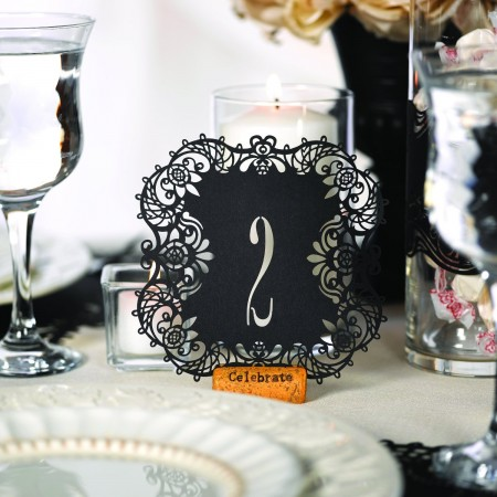 Black Laser Cut Table Number Cards 1-10200  Weddings
