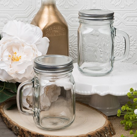 12 Ounce Glass Mason Jar with Handle baby shower favors