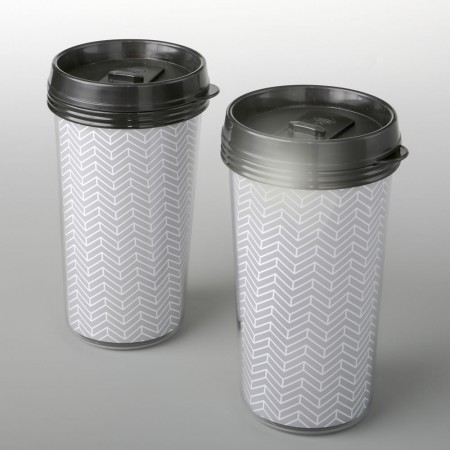 Double wall insulated Coffee cup with silver chevron designwholesale/3215lg.jpg Wedding Supplies