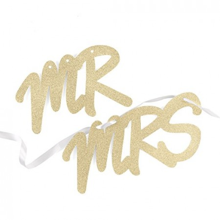 Mr. and Mrs. Sign Set -Gold200  Weddings