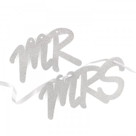 Mr. and Mrs. Silver Glitter Chair Banners200  Weddings