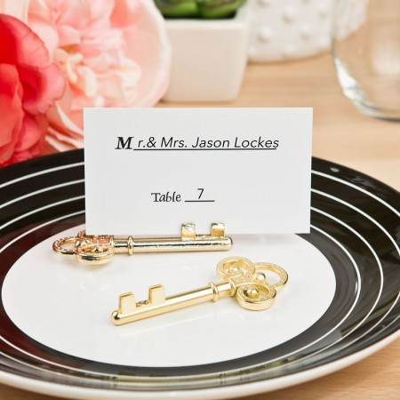 Ornate Shiny gold skeleton key place card holder200  Weddings
