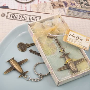 Vintage Airplane Metal Key Chain In Antique Brass Finish200  Weddings