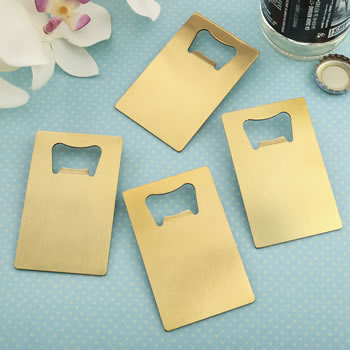 Credit Card Brushed Gold Stainless Steel Bottle Opener200  Weddings