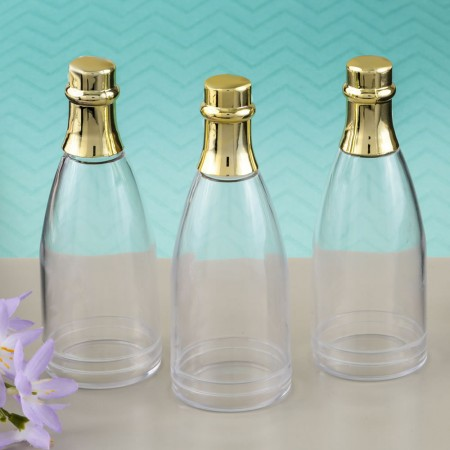 CHAMPAGNE BOTTLE ACRYLIC CONTAINER WITH GOLD FOIL TOPwholesale/5123lg.jpg Wedding Supplies