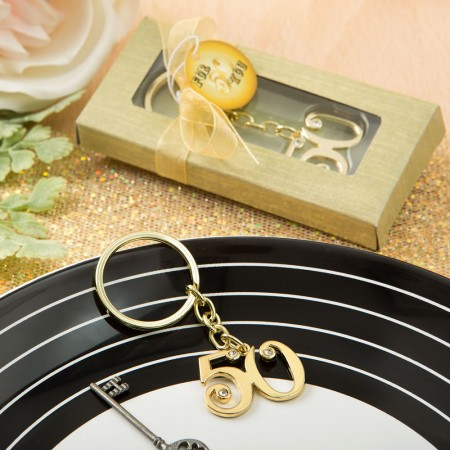 50th design gold metal key chain200  Weddings