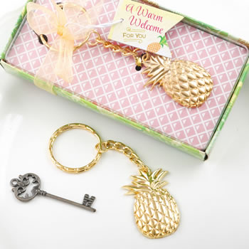 Pineapple Themed Gold Metal Key Chain200  Weddings