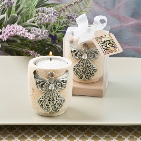 angel design candle tea light holder baby shower favors