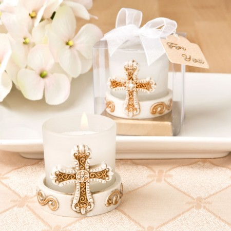 Vintage cross themed candle votive baby shower favors