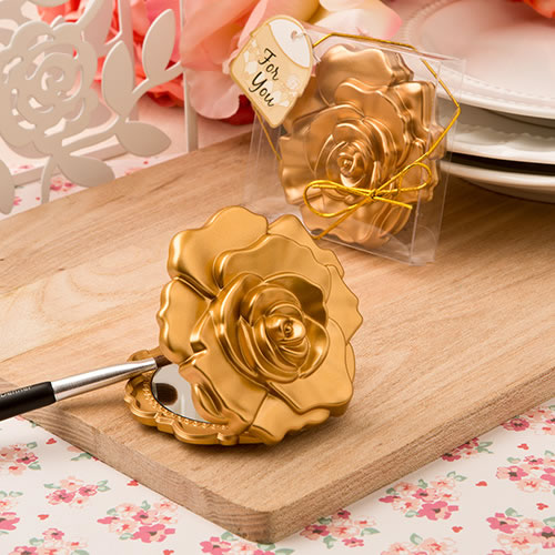 Ornate Matte Gold Rose Design Compact Mirror .200  Weddings