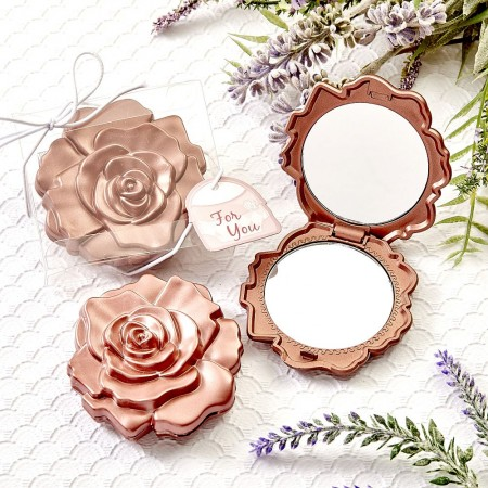 DUSTY ROSE REALISTIC ROSE DESIGN MIRROR COMPACTSwholesale/5987lg.jpg Wedding Supplies